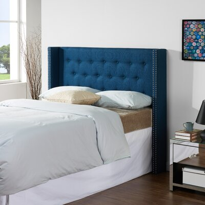 Dowlen Upholstered Wingback Headboard Size: King/California King, Upholstery: Azure