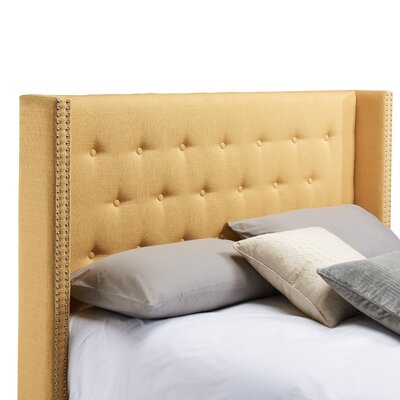 Dowlen Upholstered Wingback Headboard Size: Full/Queen, Upholstery: Mustard