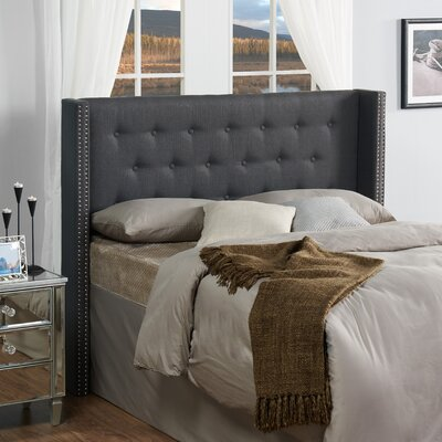 Dowlen Upholstered Wingback Headboard Size: Full/Queen, Upholstery: Charcoal