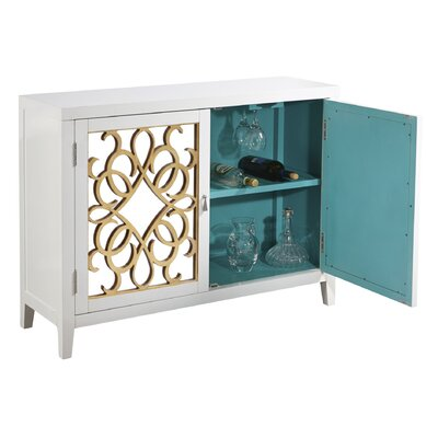2 Door Wine Storage Mirrored Console