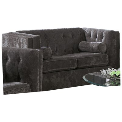 Dalila Chesterfield Wood Frame Loveseat Upholstery: Charcoal