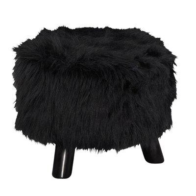 Lana Flokati Ottoman Upholstery: Black