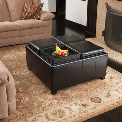 Ashton Leather Tray Storage Ottoman Upholstery: Black
