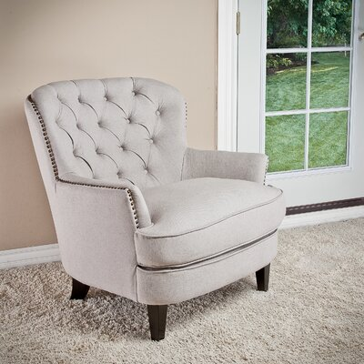 Greene Tufted Upholstered Club Chair Upholstery: Light Grey