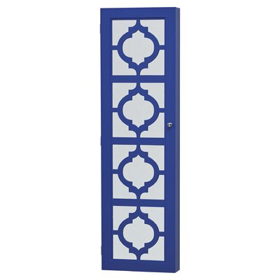 Harlesden Wall Mounted Jewelry Armoire with Mirror Color: Blue