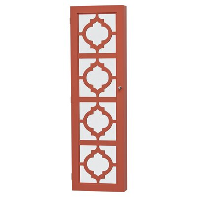 Harlesden Wall Mounted Jewelry Armoire with Mirror Color: Coral