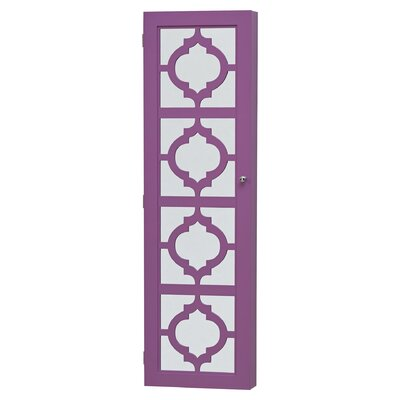 Harlesden Wall Mounted Jewelry Armoire with Mirror Finish: Purple