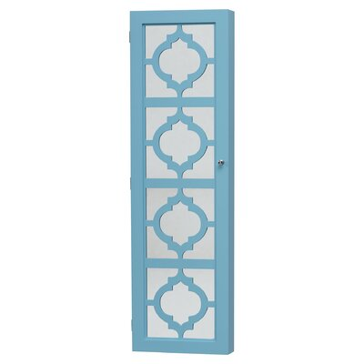 Harlesden Wall Mounted Jewelry Armoire with Mirror Color: Turquoise