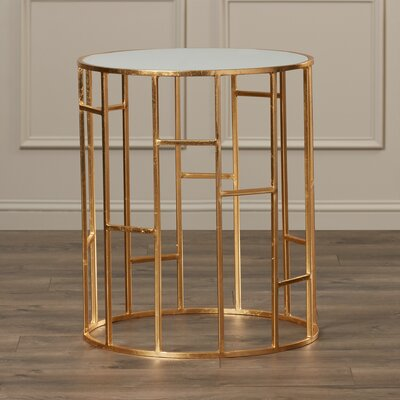 Nasim End Table Finish: Gold / White Glass