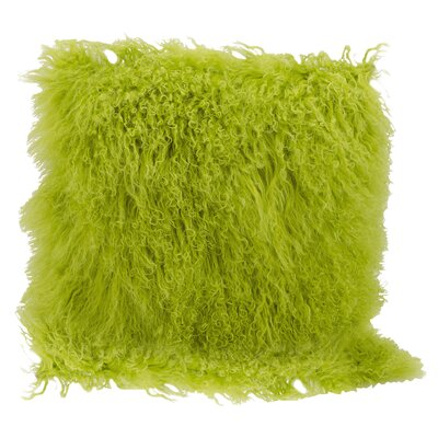 Springport Sheepskin Throw Pillow Color: Green