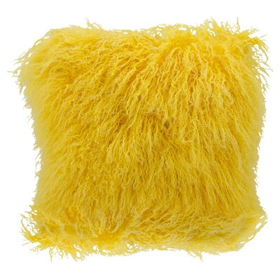 Springport Sheepskin Throw Pillow Color: Yellow