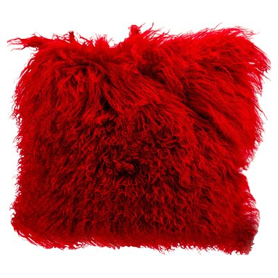 Springport Sheepskin Throw Pillow Color: Red