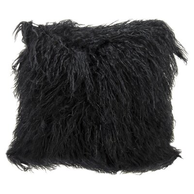 Springport Sheepskin Throw Pillow Color: Black