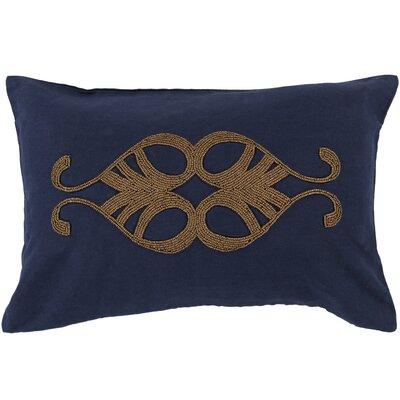 Ashington Beaded Lumbar Pillow Color: Navy, Filler: Down