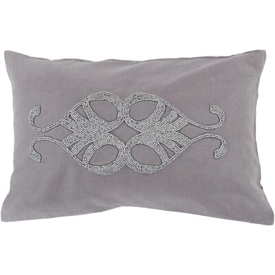 Ashington Beaded Lumbar Pillow Color: Gray, Filler: Down