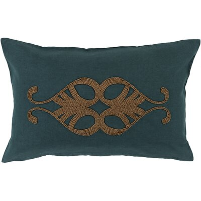 Ashington Beaded Lumbar Pillow Color: Teal, Filler: Down