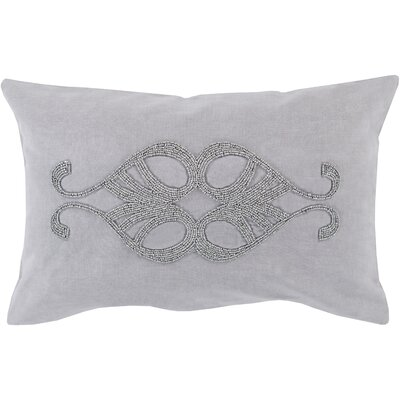 Ashington Beaded Lumbar Pillow Color: Light Gray, Filler: Polyester
