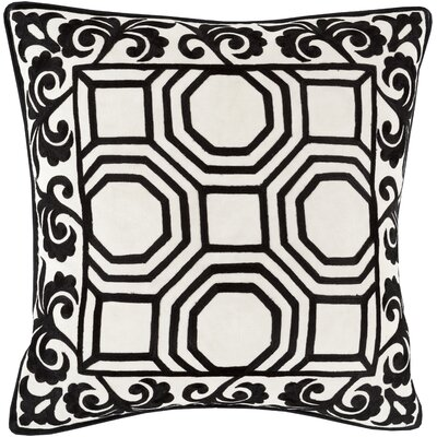 Aspatria Throw Pillow Size: 22 H x 22 W x 4 D, Color: Black/Beige, Filler: Polyester