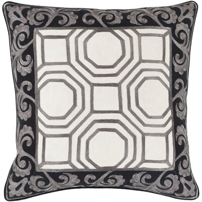 Aspatria Throw Pillow Size: 22 H x 22 W x 4 D, Color: Charcoal/Beige, Filler: Down