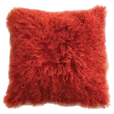 Greer Lamb Fur Throw Pillow Color: Orange