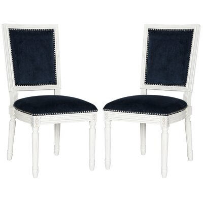 Battle Side Chair Upholstery: Velvet - Navy