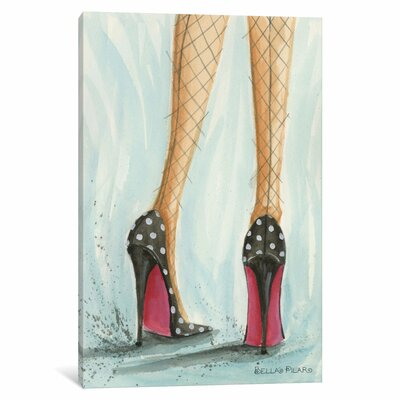 Date Night Polka Dot Heels by Bella Pilar Painting Print on Wrapped Canvas Size: 12