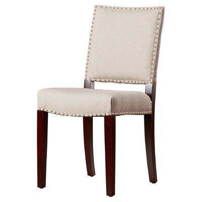 Mcknight Bicast Leather Side Chairs in Cream Finish: Taupe