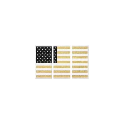 Gold Flag I 3 Piece Graphic Art on Canvas Set Size: 40
