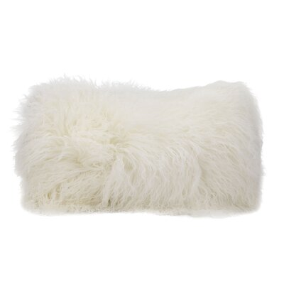 Surrey Faux Fur Lumbar Pillow Color: White