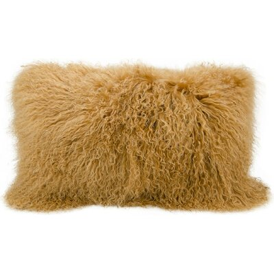 Surrey Faux Fur Lumbar Pillow Color: Amber