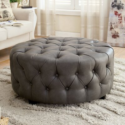 Khader Leather Tufted Round Ottoman Upholstery: Gray