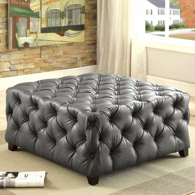 Khader Square Tufted Leather Ottoman Upholstery: Gray