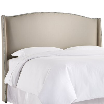 Gisela Nail Button Upholstered Wingback Headboard Size: Queen, Upholstery: Shantung Dove