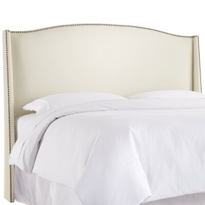Gisela Nail Button Upholstered Wingback Headboard Size: California King, Upholstery: Shantung Parchment