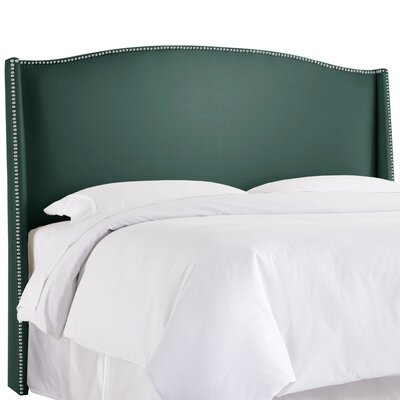 Gisela Nail Button Upholstered Wingback Headboard Size: Queen, Upholstery: Shantung Peacock