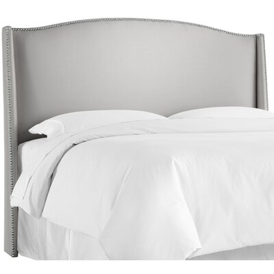 Gisela Nail Button Upholstered Wingback Headboard Size: California King, Upholstery: Shantung Silver