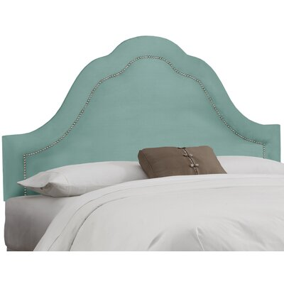 Dunlin Arch Inset Nail Button Upholstered Panel Headboard Size: California King, Upholstery: Velvet Caribbean