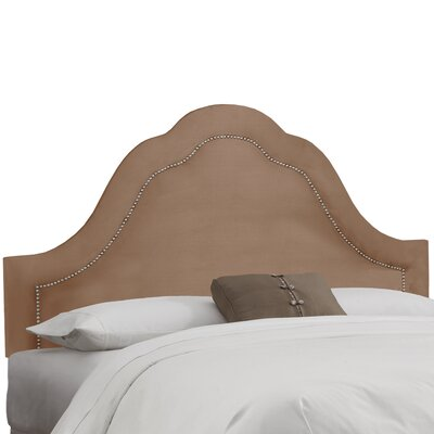 Dunlin Arch Inset Nail Button Upholstered Panel Headboard Size: California King, Upholstery: Velvet Cocoa