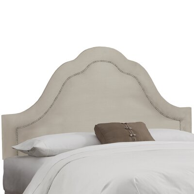 Dunlin Arch Inset Nail Button Upholstered Panel Headboard Size: Twin, Upholstery: Velvet Light Grey