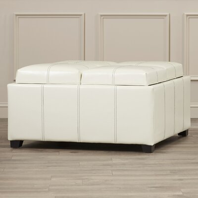 Ashton Leather Tray Storage Ottoman Upholstery: White