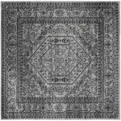Ischua Silver/Black Area Rug Rug Size: Square 8