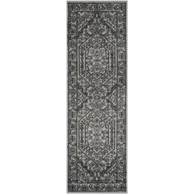 Ischua Silver/Black Area Rug Rug Size: Runner 26 x 8