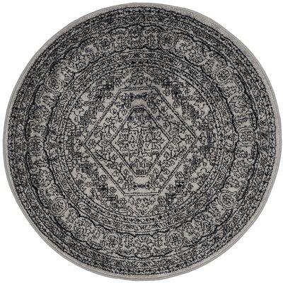 Kidderminster Silver/Black Area Rug Rug Size: Round 4