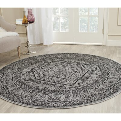 Kidderminster Silver/Black Area Rug Rug Size: Runner 26 x 22