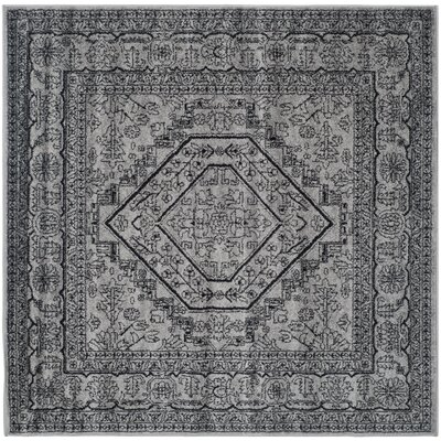Ischua Silver/Black Area Rug Rug Size: Square 6'
