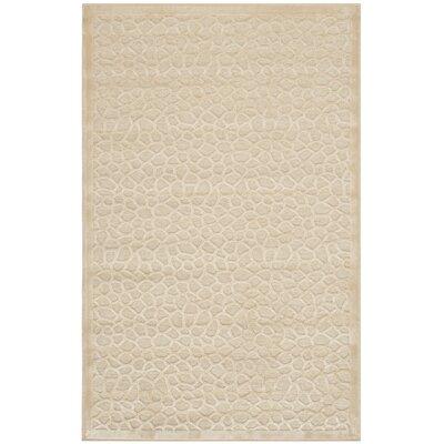 Turtoise Hand-Loomed Creme Area Rug Rug Size: 53 x 76