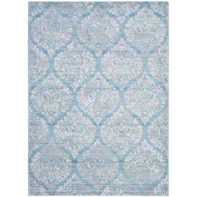 Augustus Light Blue/Ivory Area Rug Rug Size: 51 x 76