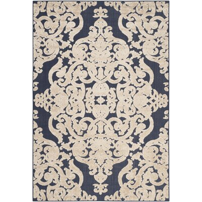 Mira Medallion Navy Indoor/Outdoor Area Rug Rug Size: 6'7