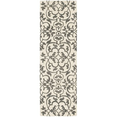 Rhona Hand-Tufted Ivory/Grey Contemporary Area Rug Rug Size: Runner 26 x 8