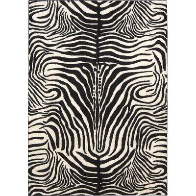 Ellesmere Black/White Area Rug Rug Size: 93 x 129